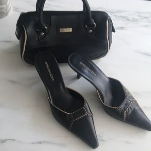 BCBG MAXAZRIA Black Leather Mules